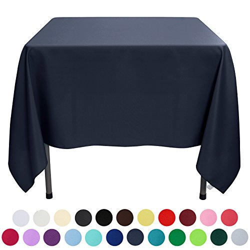 VEEYOO 70 inch Square Solid Polyester Tablecloth for Wedding Restaurant Party, Midnight Navy