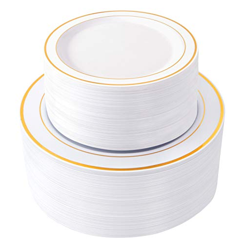 "WDF 120 pieces Gold Disposable Plastic Plates- Gold Rim Wedding Party Plates,Premium Heavy Duty 60-10.25"" Dinner Plates and 60-7.5"" Salad Plates Combo (Gold Plates)"