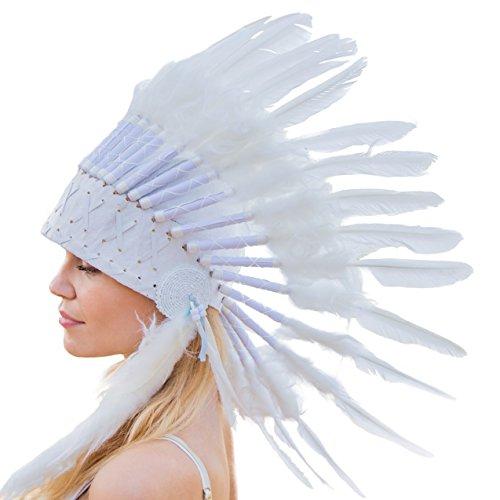 Novum Crafts Feather Headdress | Native American Indian Inspired | White