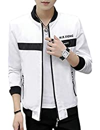 Mens Lightweight Slim Printed Casual Baseball Bomber Jacket Coat