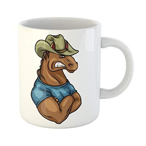Semtomn Funny Coffee Mug Aggressive Horse Mascot Team Logo Design Isolated Anger Angry Animal 11 Oz Ceramic Coffee Mugs Tea Cup Best Gift Or Souvenir