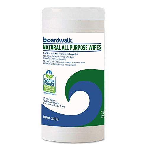Boardwalk 3736 Natural All Purpose Wipes, 7 x 8, Unscented, 75 Wipes/Canister, 6/Carton