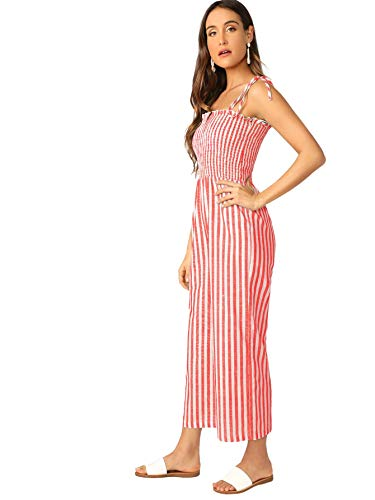 - Floerns Women's Palm Leaf Print Shirred Back Button Cami Palazzo Jumpsuit Red M