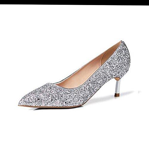 Paillettes Silver Robe Talon Peu Femmes Pointu Talons Cm 5 Party 5 Profonde Chaussures Hauts pour Sunny Bouche Fin Rencontres fSqndUBfx