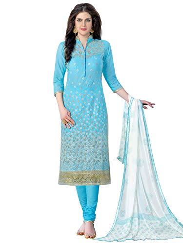 Kanchnar Women's Cotton Salwar Suit (443D1357_Blue) ()