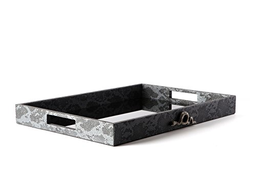 Carla Carstens Charcoal Faux Python Leather Large Tray with Snake | Vanity Tray Cosmetic Jewelry Storage Handmade Rectangle Ottoman Catchall Serving Organizer Bathroom