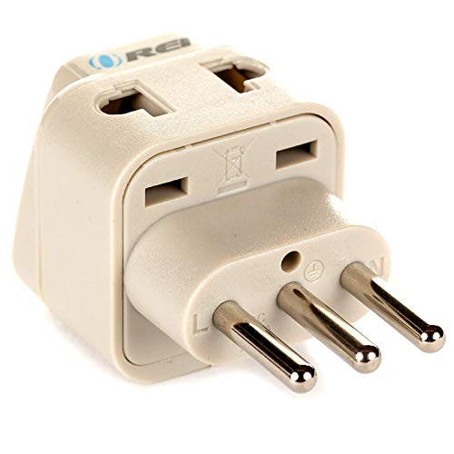 OREI Grounded Universal 2 in 1 Plug Adapter Type L for Italy, Uruguay & more – High Quality – CE Certified – RoHS…