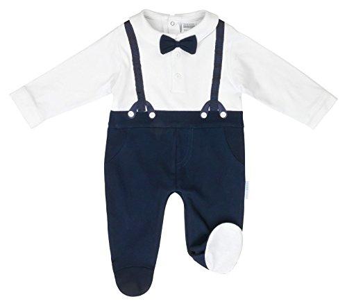 anja-wendt Onesie Body Baby dunkelblau weiß festlich Feier Hosenträger Baumwolle Strickjacke O14/15 (74 (6-9))
