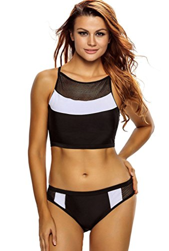 Baymate Mujer Cuadrícula Empalme Traje de Baño Bikini Conjunto Bañador Sin Mangas Tanque + Shorts Negro