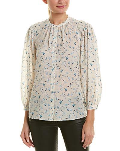 Rebecca Taylor Womens Serra Floral Silk-Blend Top, 4, White