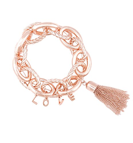 - Chain Link Chunky Bracelet LOVE Letters and Tassel Pendant Stretching Bangle Bracelets Jewelry for Women (Rose Gold)
