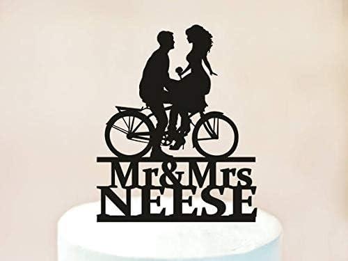 Decoración para tarta de boda, decoración para tarta de boda, siluetas de novia y novio en bicicleta, silueta de bicicleta, decoración personalizada para tarta (1115): Amazon.es: Hogar