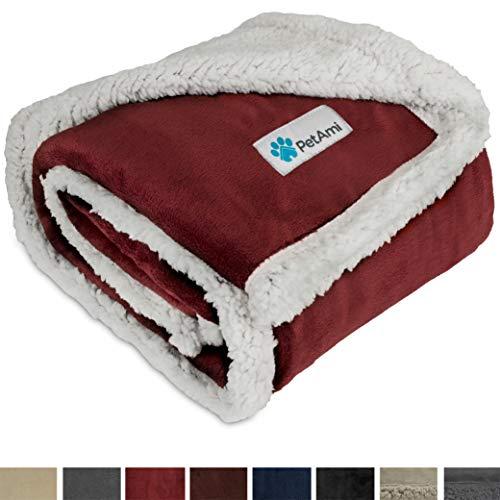 PetAmi Premium Puppy Blanket | Pet Small Dog Blanket for Cats, Kitten | Soft, Warm, Plush, Reversible Fleece Sherpa Throw - 30x40 Inches Wine