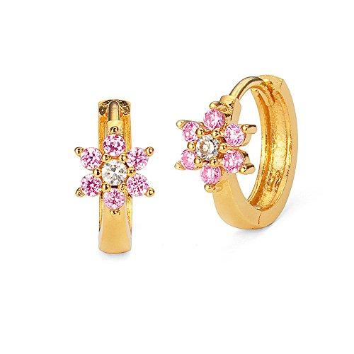 Plated Zirconia Flower Huggie Earrings product image