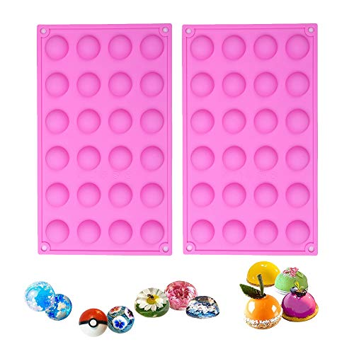 (BAKER DEPOT Semicircle Silicone Mold for Chocolate Ice cube Jelly Pudding 24 Holes Dia: 0.95inch, Set of 2)