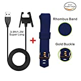 Fitbit Charge 2 Extra Long Wire Charger Cable 3.9ft/1.2M+Fitness Fitbit Wristband Gold Clasp Soft Diamond Bands,Blue Large