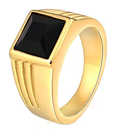 316L Surgical Steel Ring for Father Class Ring CZ Stone Princess Cut 10MM Gold Black Size 12 ()