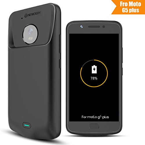 Price comparison product image Moto G5 Plus Battery Case, Newdery 3800mAh Moto G Plus (5th Generation) Extended Power Charger Cover, Protective Charging Case with Micro USB Input / Output Port for Moto G5 Plus-Black