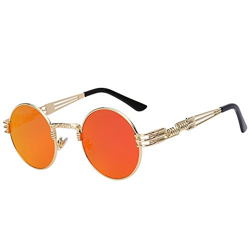 The Bad and Boujee's Sunglasses Steampunk Trendy Hip Hop Shades (Gold Frame + Red Mirror - Offset Sunglasses
