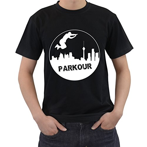 [Parkour Jump High Free Running Extreme Sport T2 T-Shirt Short Sleeve By Saink Black M] (Circle Jerk Costume)