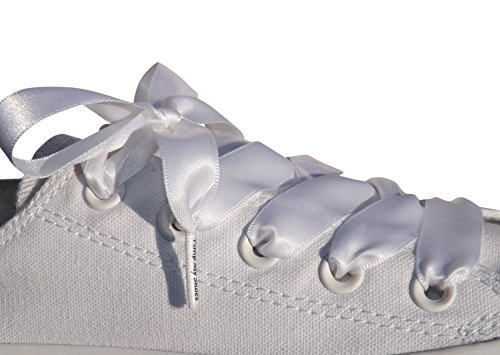 white flat satin ribbon shoelaces shoe laces for
