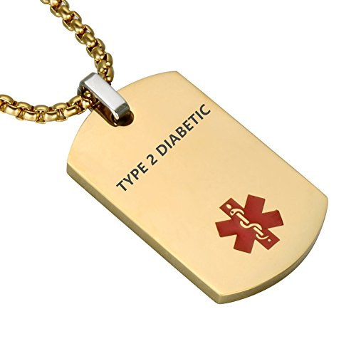 LiFashion LF Stainless Steel Type 2 Diabetic Medical Alert Dog Tag ID Pendant Caduceus Necklace for Men Women Teens Health Alert Monitoring Systems,Gold ()