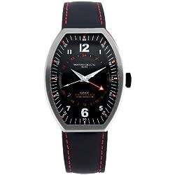 Montres De Luxe Men's EXN 9603 Estremo Titanium and Black Aluminum Luminous Blue Top Stitched Leather Date Watch