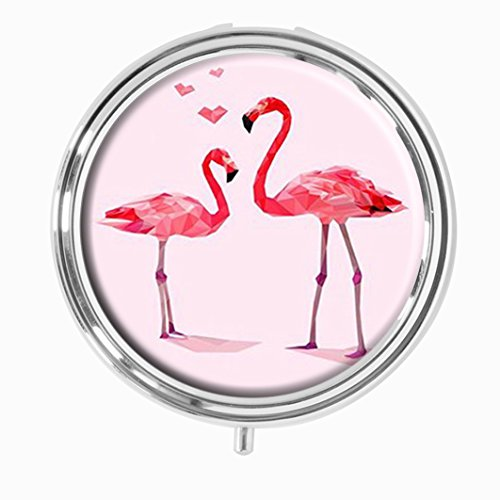 Youroom Pink Flamingo Love Custom HOT Sales Stainless Steel Round Pill Box Medicine Vitamin Organizer Holder Decorative box - Id Stainless Steel Earrings