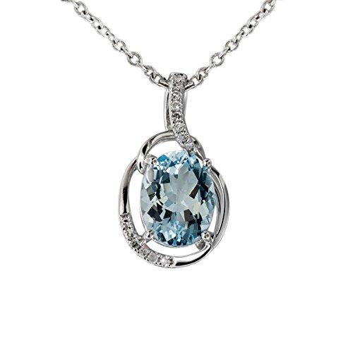 Hutang Pierre précieuse massif Or blanc 18ct véritable diamant et 1,53CT aigue-marine Pendentifs et colliers pour femme fine Diamond-jewelry