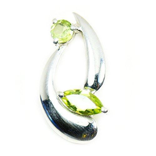 Gemsonclick Natural Marquise Cut Green Peridot Pendant Sterling Silver Handmade Jewelry Birthstone Charms