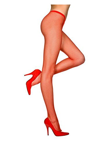 Red, Queen Size - Nylon Seamless Fishnet Pantyhose (Red Fishnets)