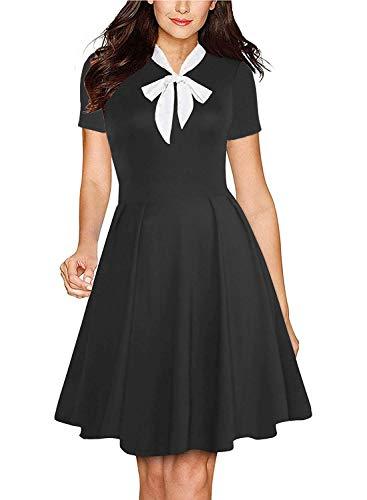 Fantaist Bow Dress,Short Sleeve Vintage Mini Summer A Line Dresses for Women Work (XL, FT638-Short Black)