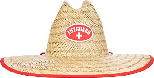 Lifeguard Straw Hat | Professional Beach Guard Red Sun Cap Men Women Costume Uniform - Red
