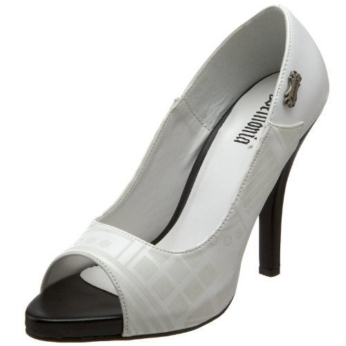 - Demonia Women's 4 1/2 Inch Peep Toe Pump with Cyber UV Print (White Pu;9)