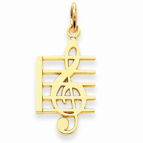 Solid 14k Yellow Gold Music Note Charm Pendant (25mm x 12mm)