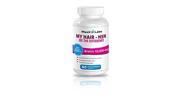 Hair Skin and Nails Vitamins (HSN) ☆ Best Biotin for Hair Growth ☆ Potent Biotin 10,000mcg Formula - It Works Nourishing Your Skin & Growing Strong Nails ...