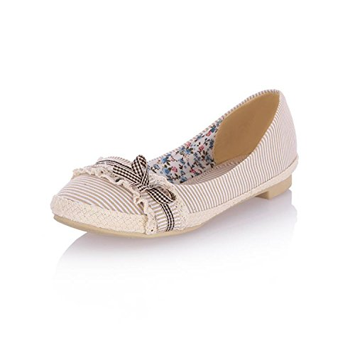 Women's Round Toe Flat Loafers Sweet Casual Shoes with Bow Beige - 1