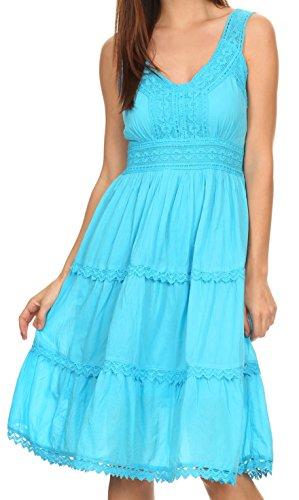 Sakkas KD2155 - Presta Roman Sleeveless Lined Tank Top Dress With Emrboidery Lace Design - Turquoise - (Crinkle Cotton Sleeveless Top)