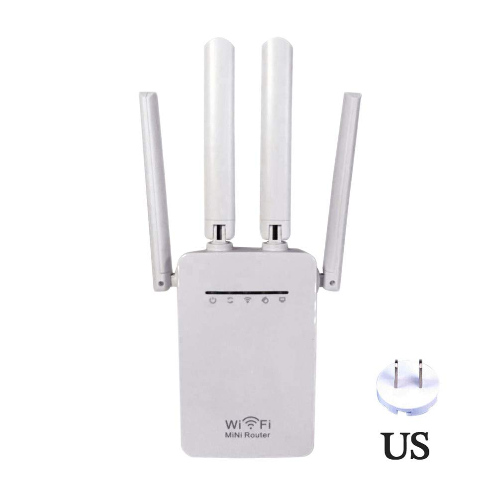 WiFi Repeater Router, 300/1200Mbps Dual-Band 2.4 / 5G 4-Antenna Signal Booster WIFI Range Extender Wireless WiFi Repeater iBellete