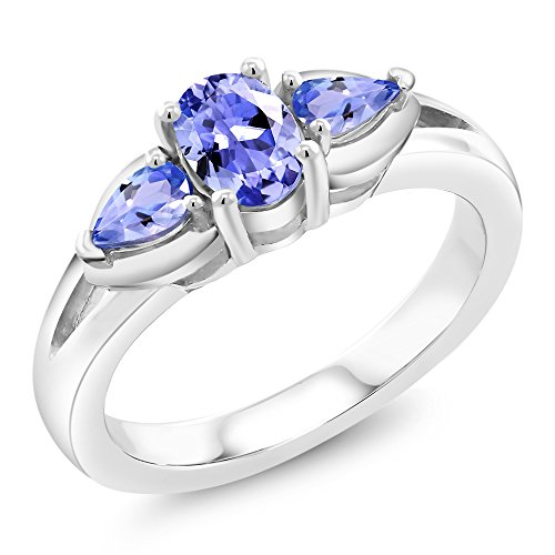 Gem Stone King 0.85 Ct 3-Stone Oval and Pear Shape Tanzanite 925 Sterling Silver Ring (Size 7)
