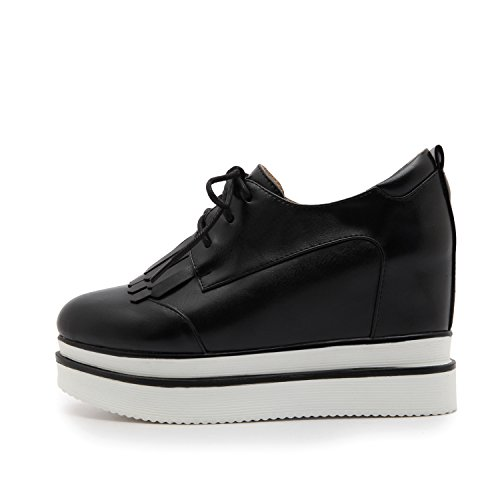 Shoes Women's Wedge Up Shine Lace Platform Black Show Heel Oxfords OqFpfnw