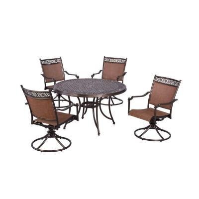 Brown Modern 5 Piece Cast Aluminum Sling Patio Dining Set