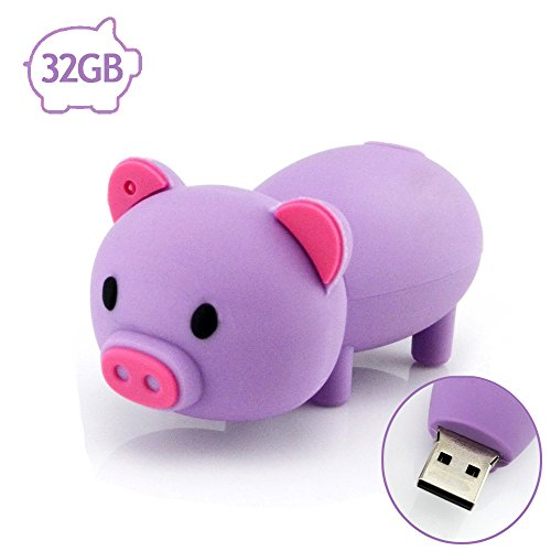 Flash Drive 32GB Pen Drive USB2.0 AreTop Cute Cartoon Miniature Purple Piggy Shap Memory Stick Swivel Thumb Drives for Date Storage Gift for School Students Kids Children Teacher Collegue Employees