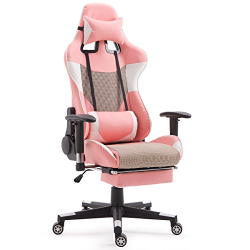 Giantex Gaming Chair Race High Back Racing Style Reclining with Lumbar Support, Headrest and Footrest Office Swivel Computer Task Desk Chair, Pink by Giantex