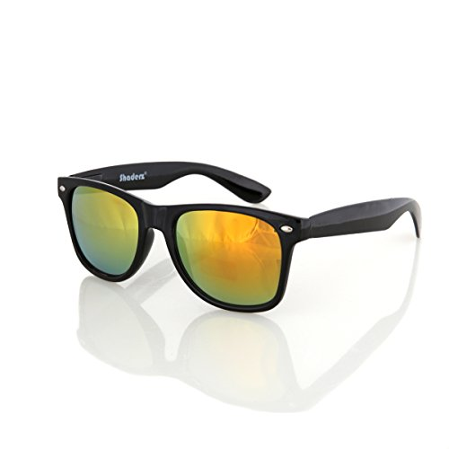 Shaderz Sunglasses Classic Glossy Black Frame Retro 80's Reflective Mirror Golden - Imitation Ban Clubmaster Ray