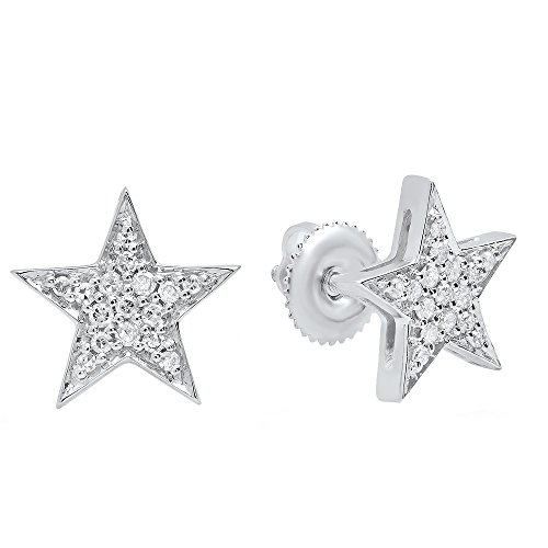 0.20 Carat (ctw) 14K White Gold Round White Diamond Ladies Star Shape Fashion Stud Earrings 1/5 CT