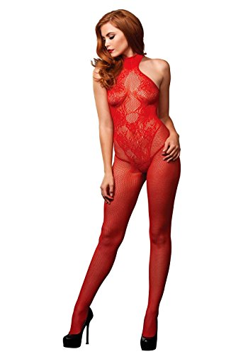 Leg Avenue Women's Fishnet Halter Neck Bodystocking with Floral Lace Detail, Red, One Size -