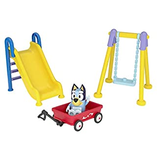 "Bluey Park Playset 2.5"" Figure, Wagon, Swing Set, and Slide, Multicolor (13016)"