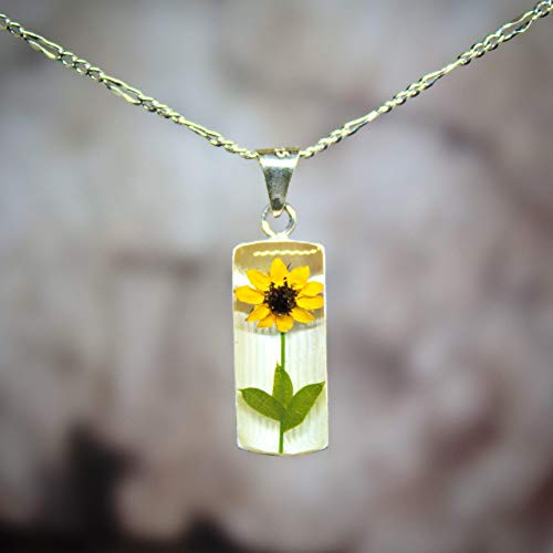 Sunflower Resin - Sterling Silver Necklace with a Real Natural Pressed Miniature Sunflower (Symbol of Happiness and Light) with a 17.71 inches Sterling Silver Chain - includes GIFT BOX - Perfect TRENDY GIFT -