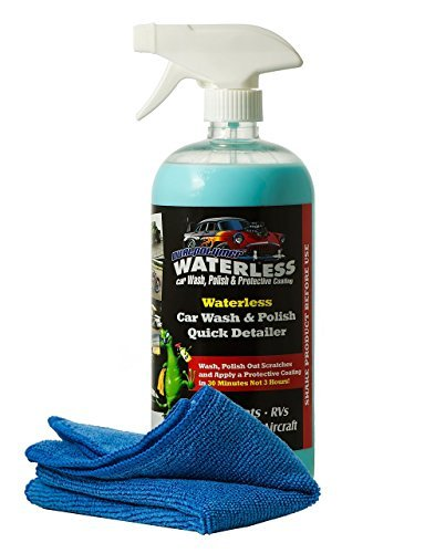 DualPolymer Waterless Car Wash - Repairs Minor Scratches - Prevents Water Spots - Bonus Microfiber Cloth